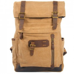 Retro Brown Large Laptop Bag Splicing Cowhide Outdoor Canvas Backpack