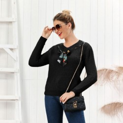 Fashion Knit V-neck Bow Pure Color Fluff Slim Bottoming Long-sleeve Cardigan Women Sweater