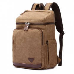Retro Laptop Travel Men's Backpack High Capacity Outdoor Rucksack Student Cylindrical Backpack