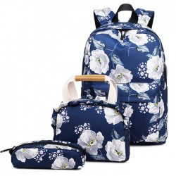 Unique Original Flower Ink Painting Three-piece Set Handbag Pen Bag Oxford School Backpack