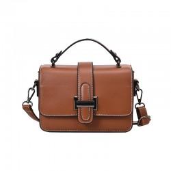 Retro Leisure Single H Buckle Leather Briefcase For Travel Office Shoulder Bag Messenger Bag