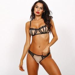 Sexy Bra Panty 2 Piece Set Lace Underwear Mesh Stitching Women's Lingerie