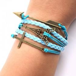 Eiffel Tower Arrow Cross Braided Bracelets