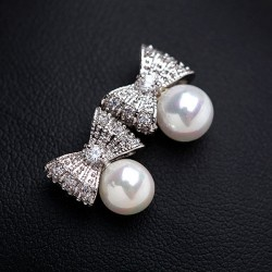 Beautiful Luxury Zircon Pearl Bow Stud Earrings