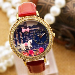 Cute Horse Rose Cartoon Rhinestone Leather Lady Watch