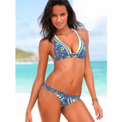 Sexy Women Bikini Red Blue Flower Printed Beachwear Swimwear