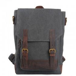Western Vintage Solid Double Hasp Zipper School Bag Computer Bag Travel Backpack