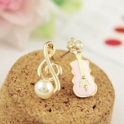 Sweet Music Note Pearl Guitar Cute Diamond Asymmetrical Earrings