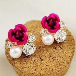 Romantic Rose Inlay Diamond Pearl Wedding Jewerly Earrings