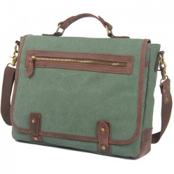 Retro Splicing Leather Flap Square Handbag Briefcase Laptop Thick Canvas Shoulder Bag