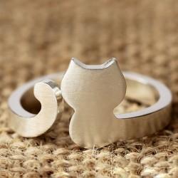 Original Cat Animal Pattern S925 Silver Opening Ring/Gift