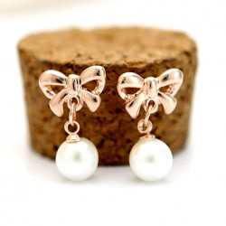Fashion Elegant Bow Pearl Earrings