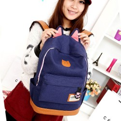 Cute Cat Ears Canvas Backpack Schoolbag