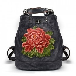 Retro Original 3D Flower Leaves Multi-function Shoulder Bag Handmade Large School Backpack
