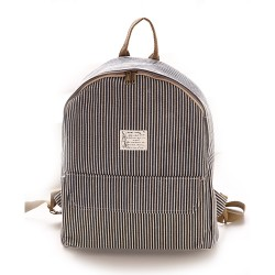 College Fresh Pinstripe Polka Dot Pattern School Backpack Canvas Rucksack