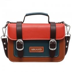 Retro Double Buckle Contrast Color Crossbody Bags for Women Messenger Bag Shoulder Bag