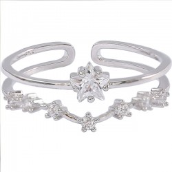 Cute Double Flower Star Open Silver Zircon Women Ring