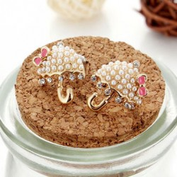 Super Cute Umbrella Pearls Bowknot Stud Earrings