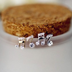 Fashion Beat Note Music Doremi Asymmetrical Inlay Crystal Earrings Studs