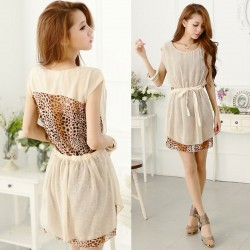 Sexy Leopard Chiffon Splice Dress