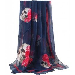 Leopard Twilight Skull Chiffon Long Chiffon Scarf/Beach Shawl