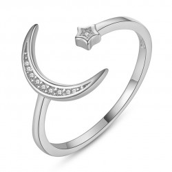 Cute Valentines Day Gift for Her Adjustable Women's Ring Moon Star Open Crystal Silver Ring