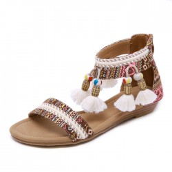 Folk Tassel Beach Flats Summer Shoes Bohemia Beaded Women's Roman Sandals
