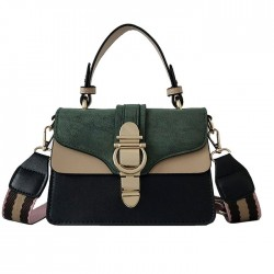 Leisure Contrast Color Small Square Messenger Bag Lock Single Buckle Matte Satchel Tote Bag Shoulder Bags