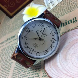 Twelve Constellations Handmade Cowhide Leather Quartz Student Watch