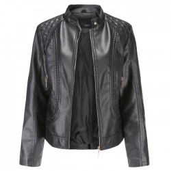 Fashion Leather Temperament Long Sleeves Stand-up Collar PU Leather Jacket Coat