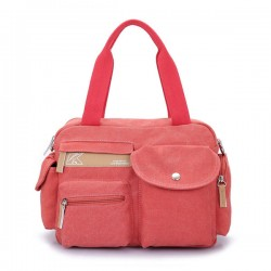 Leisure Canvas Multi-pockets Solid Shoulder Messenger Bag Handbag