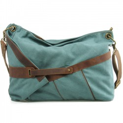 Retro Leather Belt Tied up Irregular Folding Bag Large Canvas Shoulder Bag