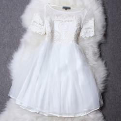 Grenadine Discoid Flowers Short Sleeve Princess Dress