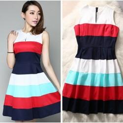 Silk Floss Colorful Strip Open-neck Dress