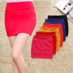 Slim Elastic Waist A-line Package Hip Skirts