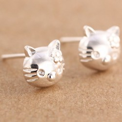 Sweet Pure Silver Kitty Earrings Studs Cute Cat Earring Studs