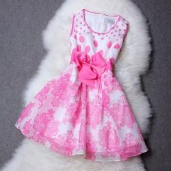 Organza Wave Point Print Waist Bowknot Silk Dress
