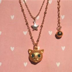 Cute Cat Animal Star Rhinestone Necklace/Ring