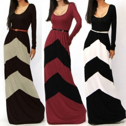 Fashion Sexy Geometric Color Long Dresses