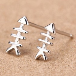 Cute 925 Silver Fishbone Girl Earrings Studs