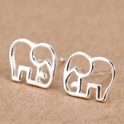 Cute Hollow Elephant Silver Earring Stud
