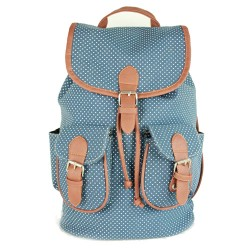 Retro Polka Dot Drawstring Three Hasp Rucksack Backpack