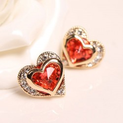 Gorgeous Crystal Rhinestone Heart Shape Stud Earrings