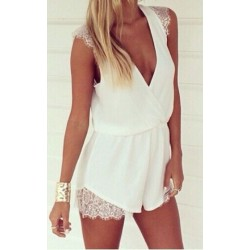 Sweet Milk Lace Chiffon Coverall Romper&Jumpsuit