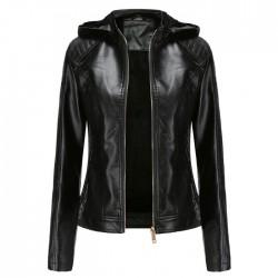 Fashion Plus Size Plus Velvet Leather Jacket Warm Autumn Winter Women's Jacket Hooded Short Jacket