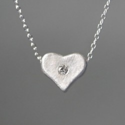 Unique Heart Shape Rhinestone 925 Sterling Silver Necklace