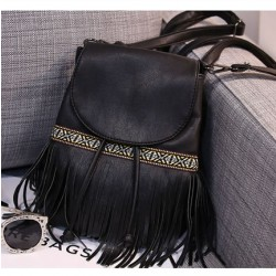 Folk Stripe Leisure Tassel Mixed Colors Clamshell Drawstring Backpack