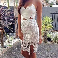 Irregular Hollow Flower Lace White Bra Dress