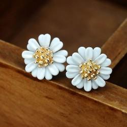 Fresh Colorful Paint Little Daisy Flowers Sweet Lady Cute Earrings