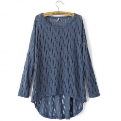 Fashion Hollow Out Hem Cropped Knitted Sweater